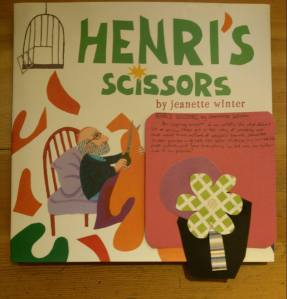 Henri's Scissors by Jeanette Winter [**]- An inspiring account of an artist's life who didn't let a serious illness get in the way of creating art that would touch millions of people's hearts. Jeanette Winter provides a glimpse into Henri Matisse, his incredible paper cutouts, and how everything he did was an extension of his passion!
