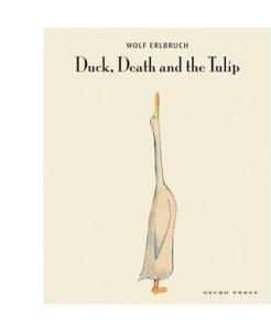 Duck, Death and the Tulip by Wolf Erlbruch [**]- The illustrations caught my eye of this picture book tackling a big topic. Duck and Death befriend one another and they learn that all good things come to an end. Surprisingly sweet.