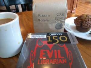 Celebrating with a custom Biblio Blend and reading a library book!